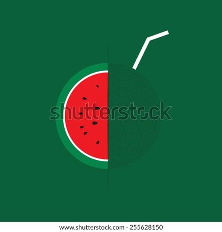 Watermelon juice vector - stock vector