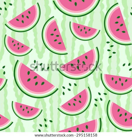 Watermelon seamless pattern. Colorful vector illustration.