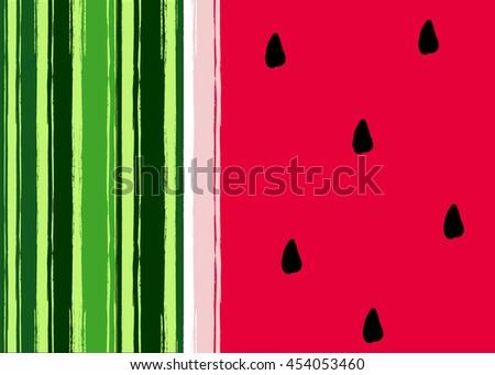 Watermelon seamless pattern. Geometric retro style 80s - 90s. Summer funny vivid texture  - stock vector