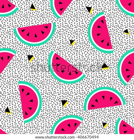 Watermelon seamless pattern. Geometric retro style 80s - 90s. Summer funny vivid texture  with triangles and fruits - stock vector