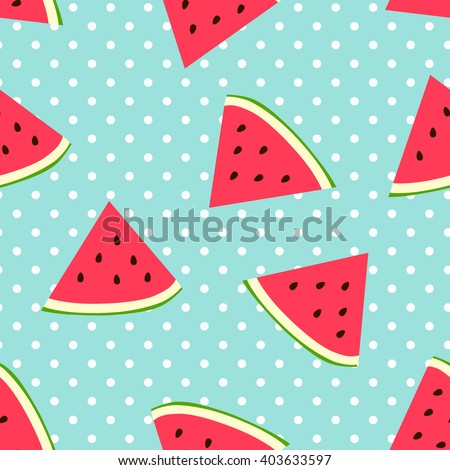 Watermelon seamless pattern with polka dots - stock vector