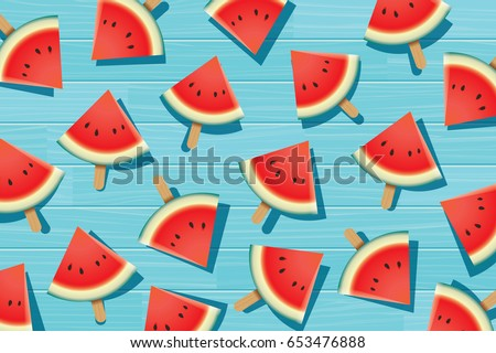 Watermelon slice on blue wooden. Summer time background banner.