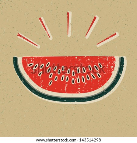 Watermelon slice printed on yellow paper - stock vector