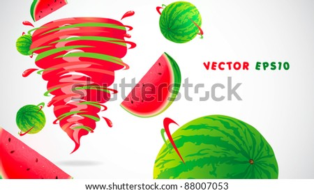 watermelon with juicy twister - stock vector