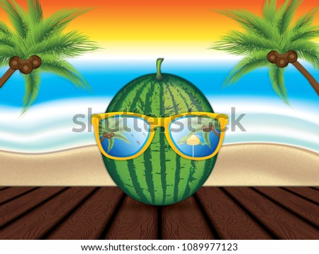 stock-vector-watermelon-with-sunglasses-