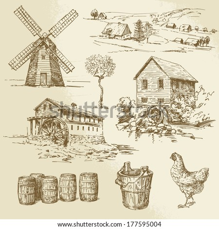 watermill and windmill - hand drawn illustration - stock vector