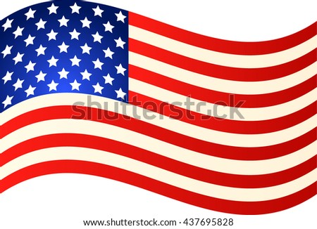 Wave American Flag for Independence Day. Vector EPS illustration - stock vector