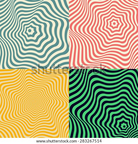 Wave background. Set of colored abstract patterns in the form of concentric monotonic curves. Retro colors. Backdrop for postcards, business cards, packaging, web applications. - stock vector