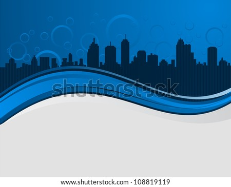 wave background with night city