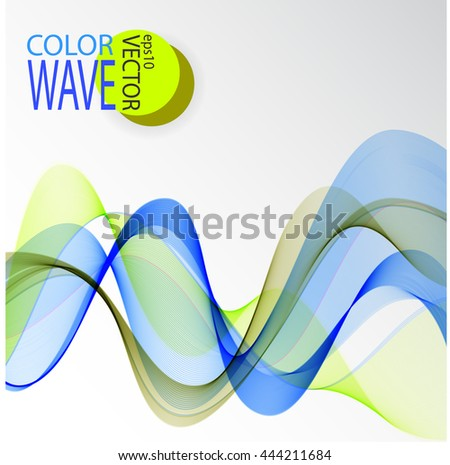 Wave Blue green yellow Vector illustration Template design Holiday colors - stock vector