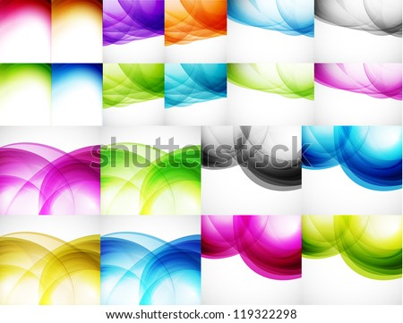 Wave color backgrounds. Big set of vector illustrations