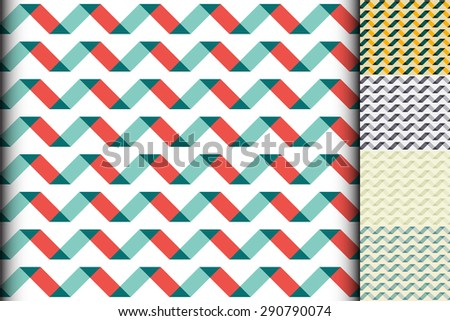 Wave colorful geometric seamless pattern. Five samples of wave patterns different coloring. Oblique line of inclined parallelogram. Vector background for greeting cards, posters. Retro colors. - stock vector