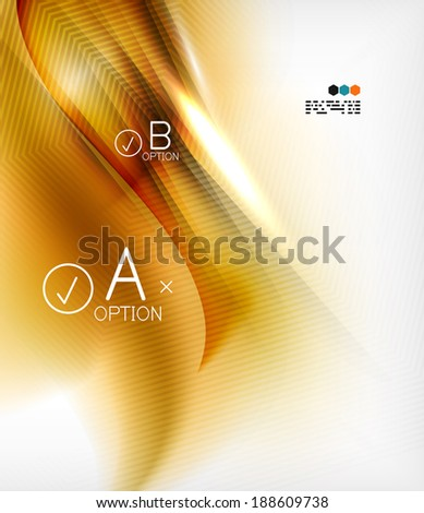 Wave designed business poster in orange color. Textured abstraction - stock vector