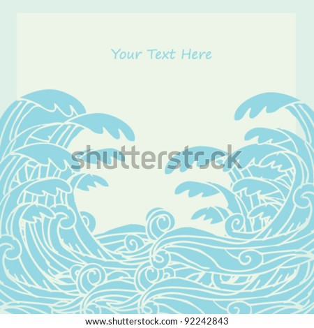 wave doodle illustration vector - stock vector