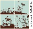 wave flower background - stock vector