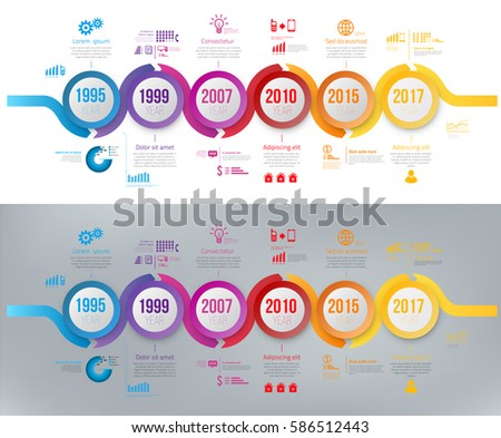 Wave Form Colorful Business Timeline Infographic Stock Vector
