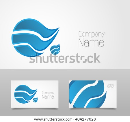 Wave logo design template - stock vector