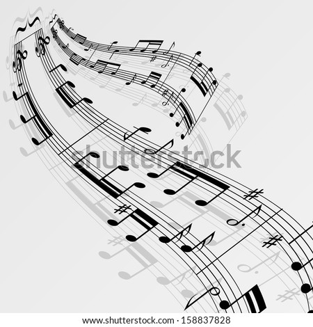 Wave music notes background. eps10 - stock vector