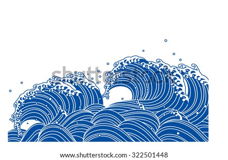 Wave of blue. Japanese style - stock vector