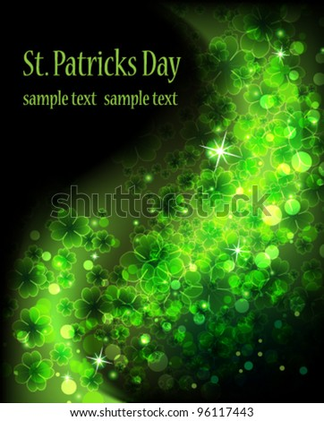Wave of magic sparkling clover on a black background.  St. Patrick's Day abstract background - stock vector