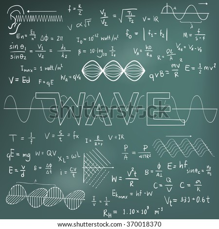 Wave physics science theory law and mathematical formula equation, chalk doodle handwriting and frequencies model icon in blackboard background used for school education and decoration (vector)