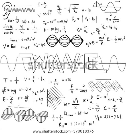 Stock Vector Wave Physics Science Theory Law And Mathematical Formula Equation Doodle Handwriting And