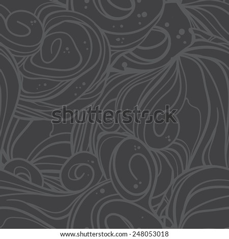 Wave seamless pattern. Hand drawn vector background - stock vector