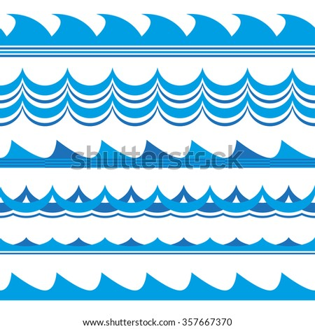 Wave set. Waves seamless pattern. Sea and ocean waves isolated on white background. Vector illustration. - stock vector