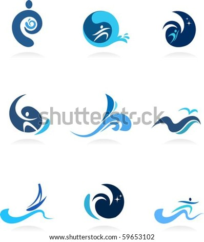 Wave, surf and flow icons - stock vector