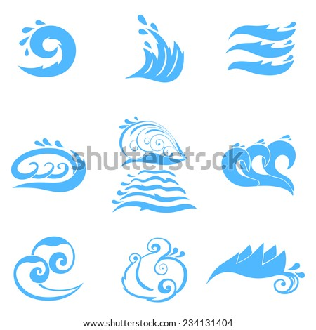 Wave symbols set for design isolated on white background - stock vector