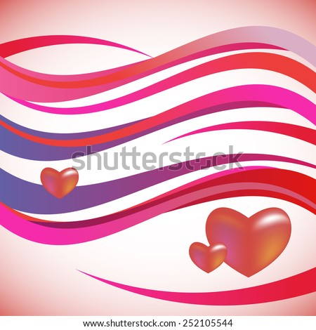 wave vector background love heart cute pink - stock vector