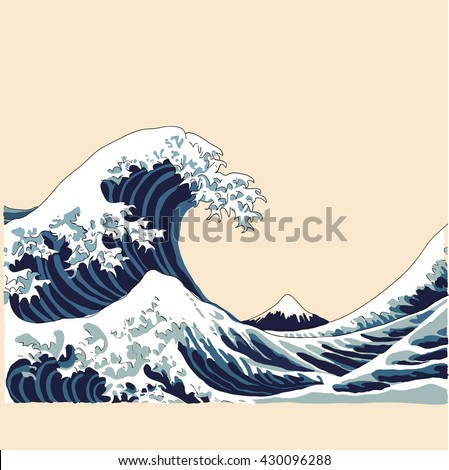 wave vector illustration Japanese motif. japan background. hand drawn illustration of japan - stock vector