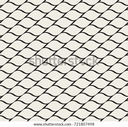 Wave Vector Seamless Geometric Pattern. Modern curve stripes texture. Circles background.