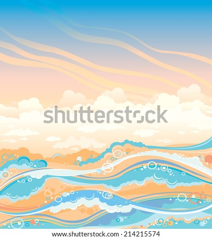 Waves and foam on a sunset cloudy sky. Seascape vector illustration. - stock vector