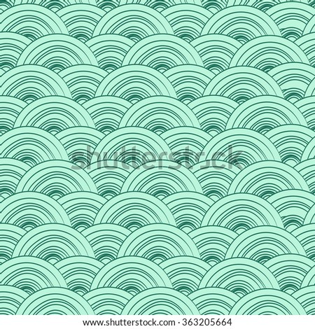 Waves doodle background with paper ships. Sea seamless pattern