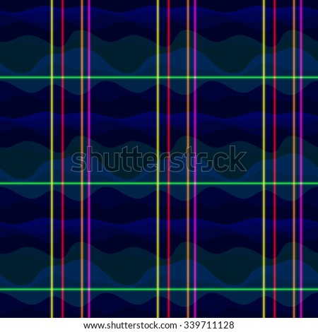 Waves in tints of blue and green. Green, yellow, red, orange and pink neon shining lines. Vector seamless pattern. Abstract vector design. Seamless texture. Color illustration with waves and lines. - stock vector