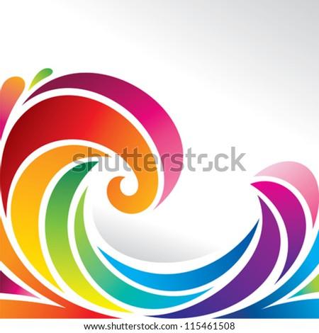 waves of rainbow - stock vector