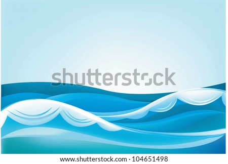 waves of the ocean and blue sky - stock vector