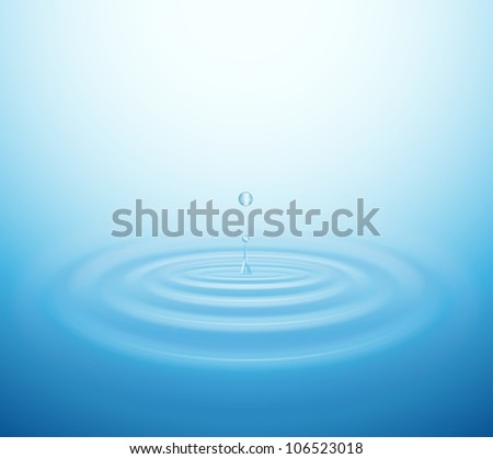 Waves on water from falling drop. Eps 10 - stock vector