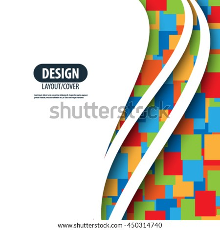 Waves Pattern and Overlapping Squares Layout/Design Cover Background - stock vector