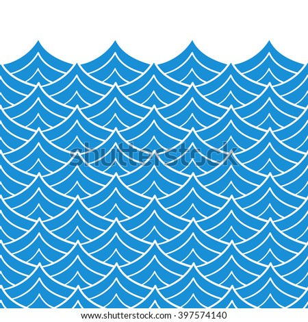 Waves seamless border pattern. May be used like an Invitation card design. Vector illustration with sea waves. Ripple sea. - stock vector