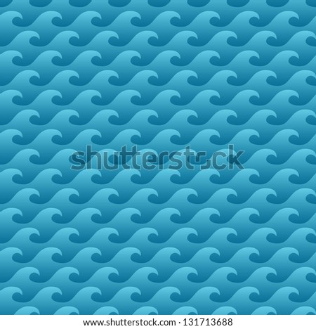 Waves seamless pattern - perfect for summer time - stock vector