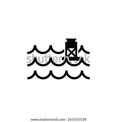 waves, water, buoy sign icon - stock vector