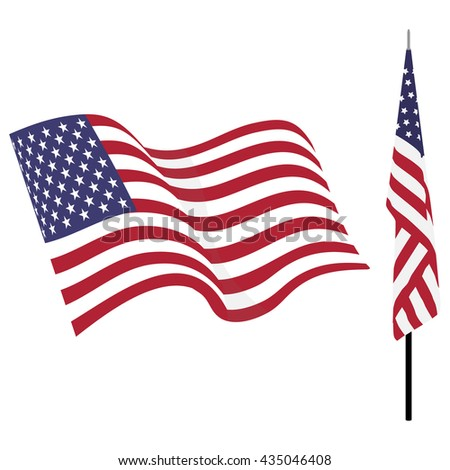 Waving american flag and flag on stand. Usa flag vector set isolated on white