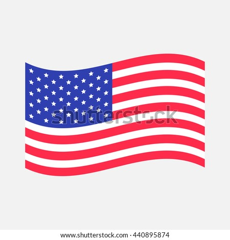 Waving American flag icon. Isolated. Whte background. Flat design. Vector illustration