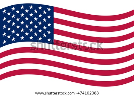 Waving American flag. Vector illustration. Correct sizes and colors. National symbol the United States.
