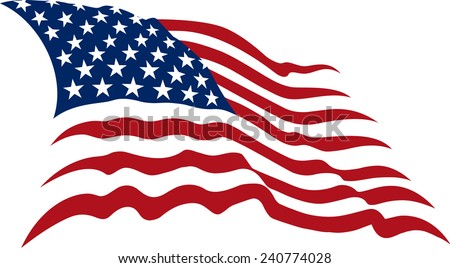Waving American Stars and Stripes made in two colors isolated on white