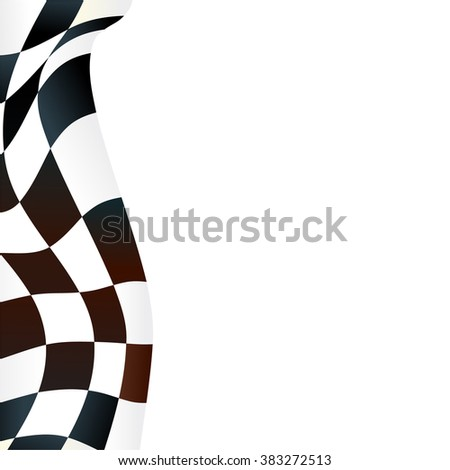 Waving checkered flag on white background