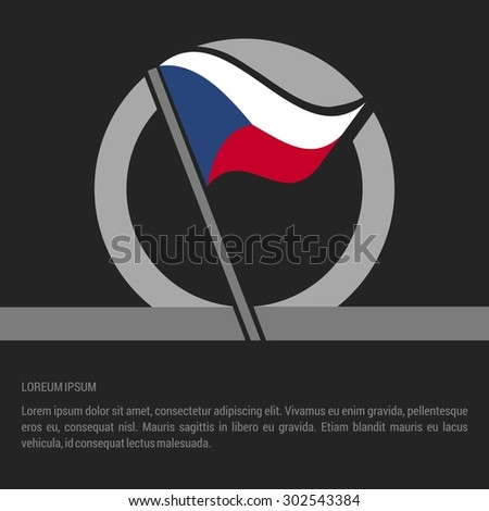 Waving Czech Republic Flag badge design - independence day Label - Vector illustration