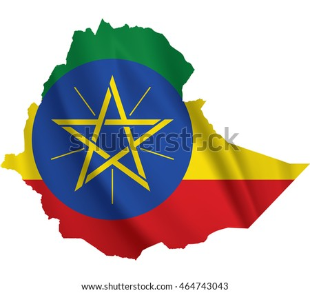 Waving Fabric Flag Map of Ethiopia